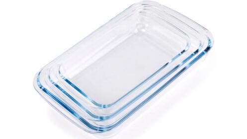 Set de 3 bandejas de cristal para horno