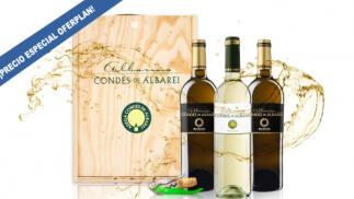Pack 3 botellas albariños Condes de Albarei + abridor exclusivo + caja de madera