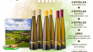 Pack 6 botellas de los albariños Pazo Baión + libro exclusivo de la finca + abridor