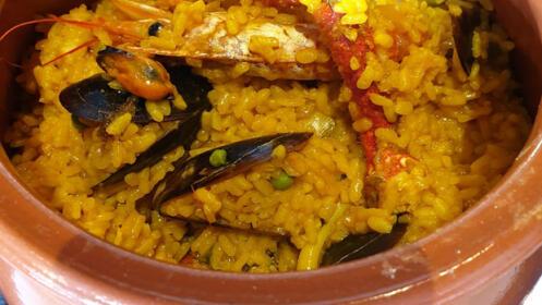 Menú arroz de marisco con centolla y buey de mar