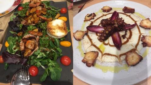 Menú degustación con pulpo a la brasa y ensalada templada zamburiñas y langostinos
