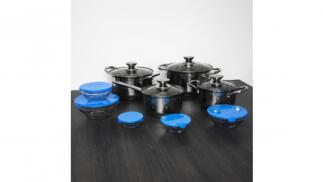 Batería de cocina de 8 piezas acero inoxidable + 5 boles de cristal