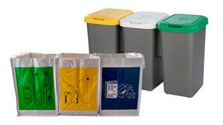 Pack de reciclaje de 3 papeleras de 3 depósitos y 3 bolsas de basura
