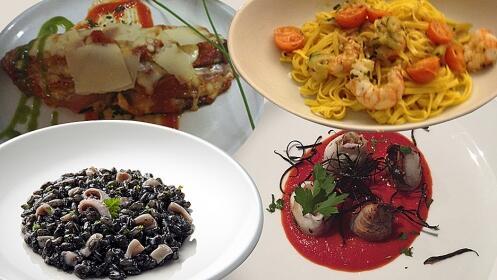 Delicioso menú degustación italiano con postre y bebida