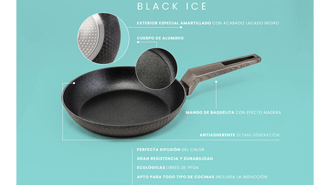 Set 3 sartenes antiadherente reforzado AMERCOOK Black Ice
