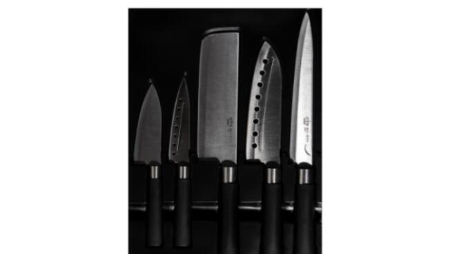 Set de 4 cuchillos japoneses de cocina Santoku con hacha de regalo